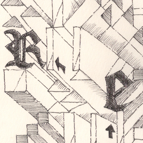 Close up and cross hatching of a few letters and angles.