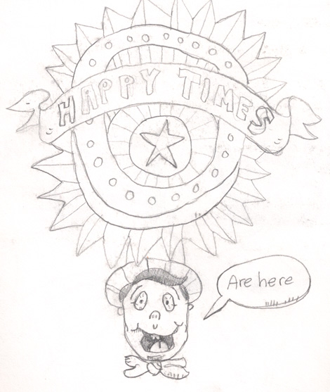 """Happy Times"" sketch. I doodled this really fast so I could have something to try and color, later, in Photoshop."