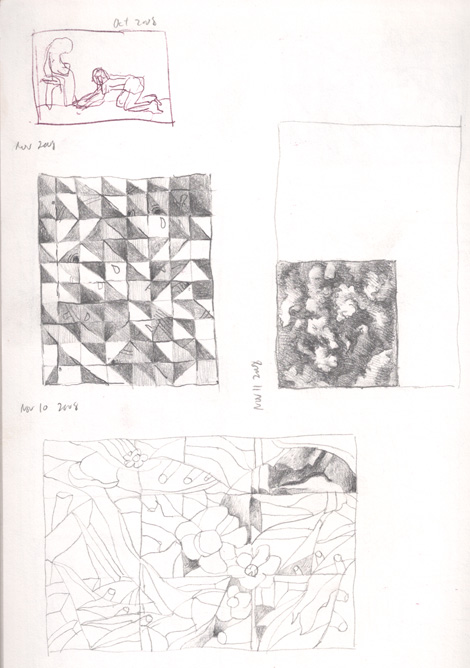 Several abstract composition sketches. The top left one focuses on patterns of dark and light, while the second focuses on organic blending of dark and light.