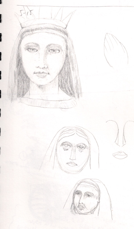 Another set of concept sketches for some devontial art about Mary as Our Lady of Sorrows and other ideas.