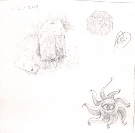 Lunchtime sketches: My teabag and a one-eyed, dangerous, spinning, octopus.