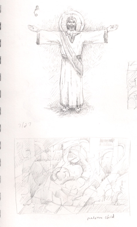 "Realistic concept sketch of Jesus above an abstract Madonna and Child concept. I don't think abstract approaches to traditional topics work that well, maybe in the same way ""Baroque"" and ""Hip Hop"" probably don't mix that well"
