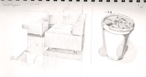 "Lunch time sketch: The furniture near me and my coffe cup. With the cup, I tried to use only black, white, and one gray and in a sense doing a manual ""posterize filter"" like Photoshop does. Meh..."