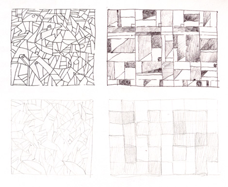 A series of abstract sketch concepts, some focused on grids and patterns.