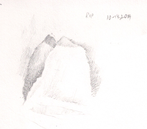 Sketch of a ripped napkin, a simple study in tonal values.
