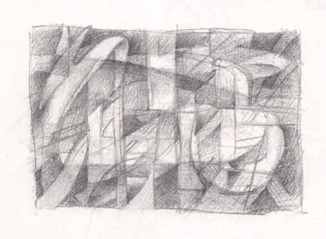 Abstract pencil sketch study of improvised composition, built in layers. I like the idea of transparency of abstract shapes and would like to explore this in a larger work, possibly charcoal.