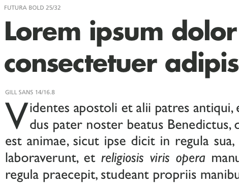 Futura works with Gill Sans