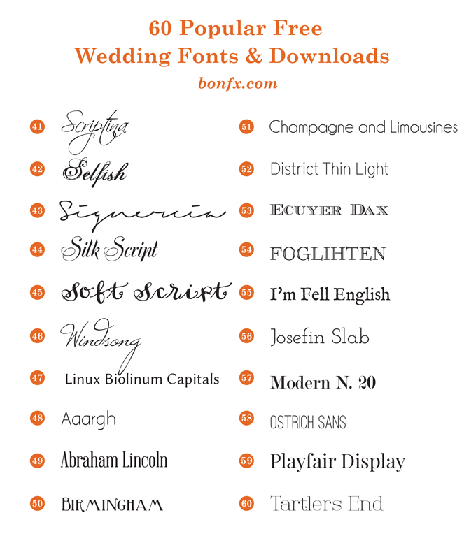Wedding Invitation Fonts.60 Popular Free Wedding Fonts Bonfx