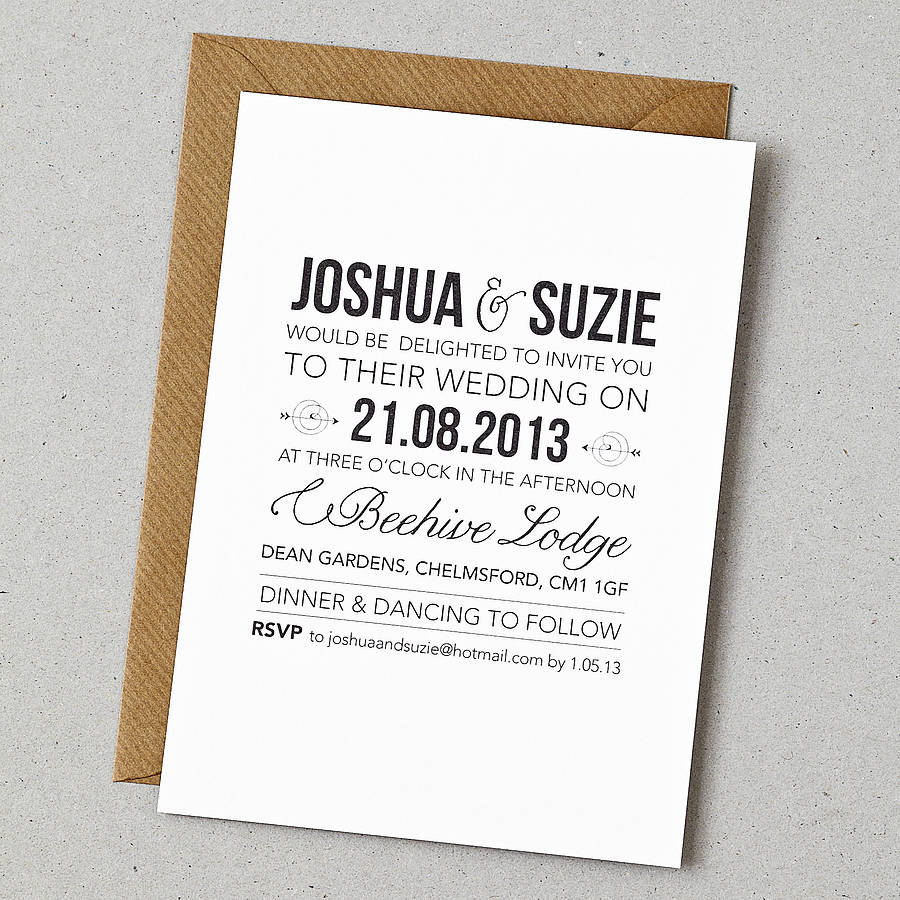 Modern Wedding Invite Wording